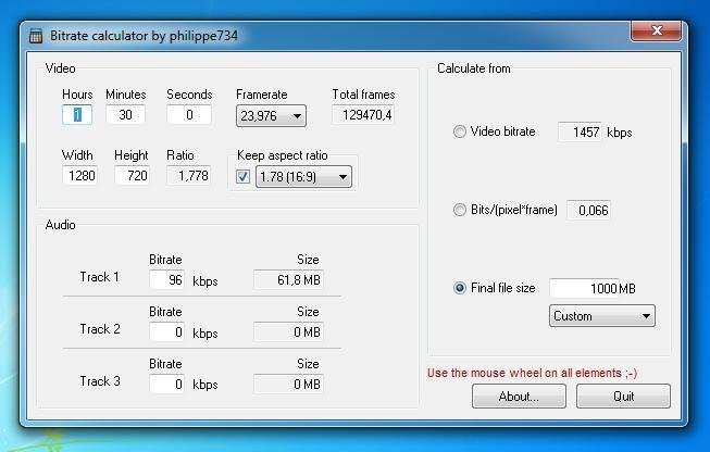 Bitrate calculator 1.0.36 Free Download - VideoHelp