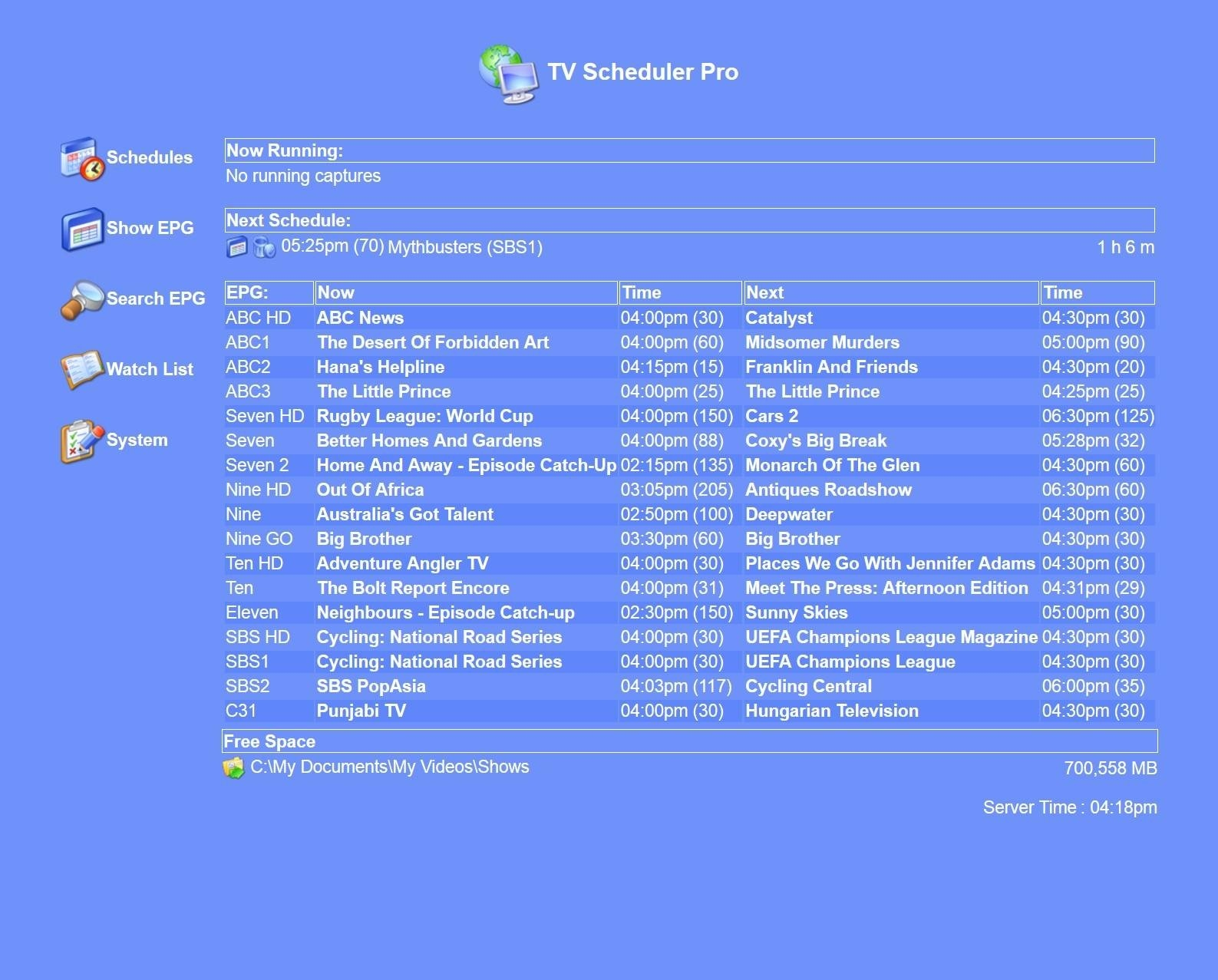 TV Scheduler Pro Version History - VideoHelp