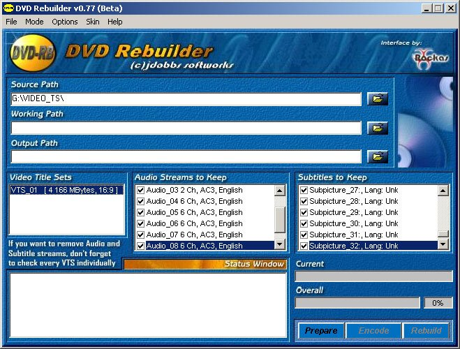 DVD Rebuilder Click to enlarge screenshot