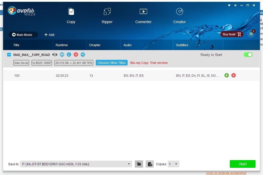 DVDFab HD Decrypter screenshot