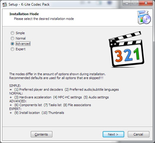 pacote de codecs para windows media player classic