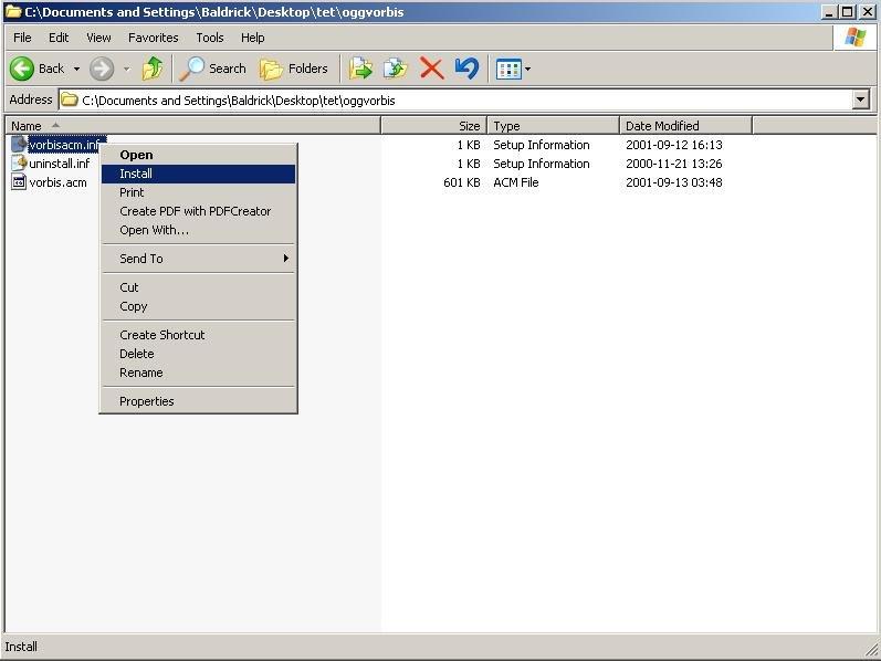 OGG Vorbis ACM Codec 0 0 3 6 Free Download - VideoHelp