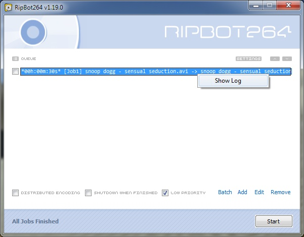 Full RipBot264 screenshot