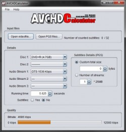 AVCHDCalculator screenshot