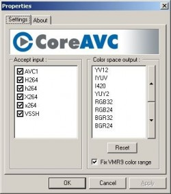 CoreAVC screenshot