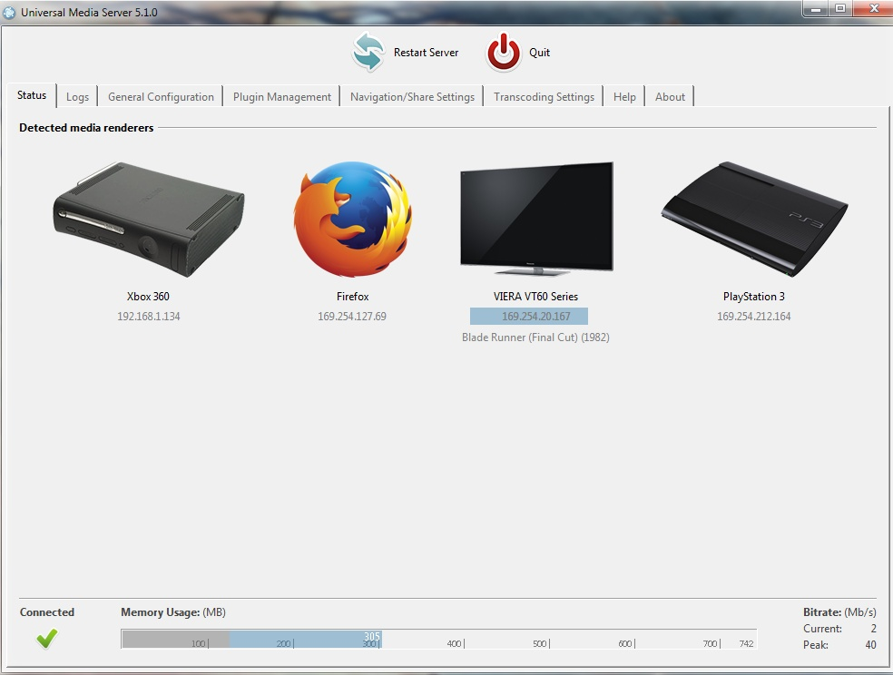 Universal Media Server for Mac OS X screenshot