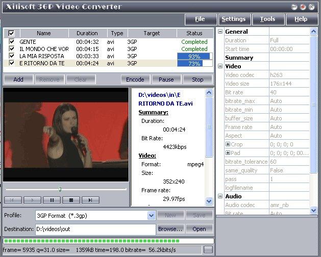 Screenshots of 3X 3GP Video Converter.