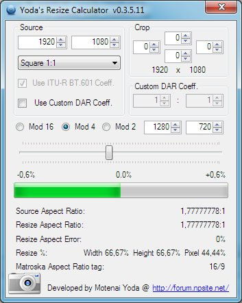 Yoda's Resize Calculator 0 4 0 1 Free Download - VideoHelp